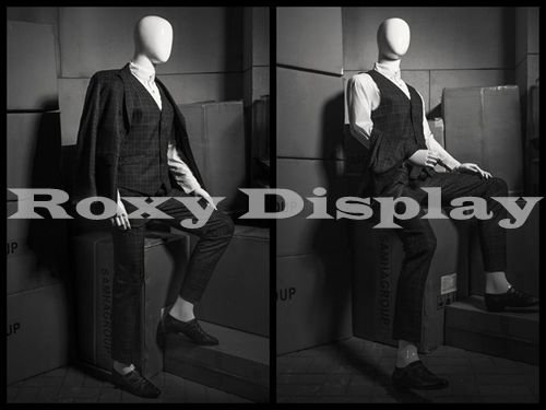 (MZ-HM01WEG) ROXYDISPLAY™ Male Mannequin, Flexible Head, arms and Legs with Wooden Articulated Hands.