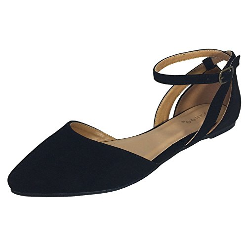 Shoes Black Skimmers Flats (Bamboo Women's Almond Toe Double Open Shank Skimmer With Ankle Strap, Black Nubuck PU, 7.5 B (M) US)