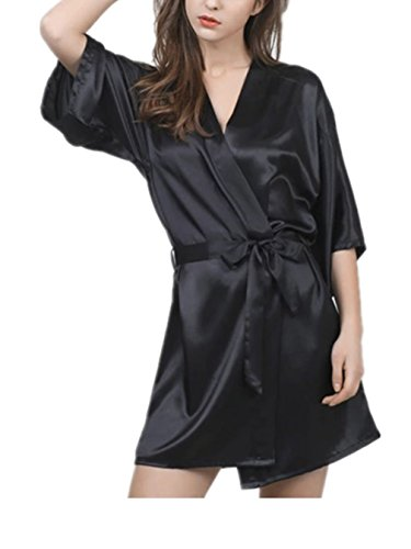 Sleep Robes For Women Sets Short Bathrobes With Silk Kimono Satin Lounge Sleep Wear