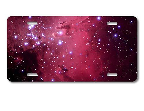(DistinctInk Custom Aluminum Vanity License Plate for Front of Car - Hot Pink Black Stars Nebula)