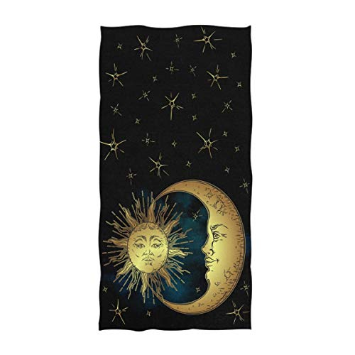 Naanle Chic Antique Style Golden Sun Crescent Moon and Stars Print Soft Guest Hand Towels Multipurpose for Bathroom, Hotel, Gym and Spa (16