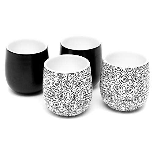Dobbelt Set of 4 Double Walled Espresso Cups, 2 Ounce - 2 Black and 2 Circle Pattern - Insulated Ceramic Espresso Mugs - Modern, Contemporary, Art Deco Design - Box -