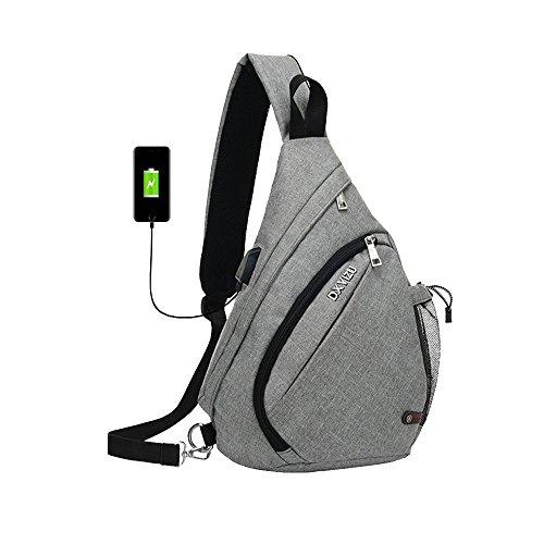 SINOKAL Sling Bag Chest Shoulder Backpack Casual Crossbody Shoulder Triangle Packs Daypacks for Men Women Canvas Digital Camera Bags with Charging Port for Sport Outdoor Gym Travel Hiking (Grey)