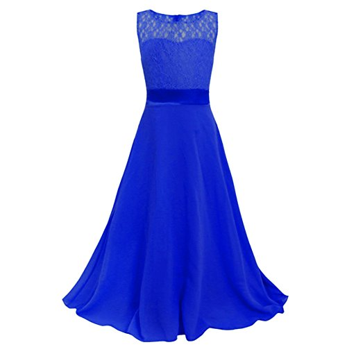 Girls Chiffon Dresses Long Maxi Ball Gown Pageant Graduation Wedding Prom Party (14, Royal_Blue)
