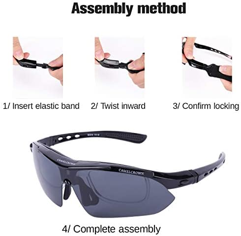CAMEL CROWN Sports Sunglasses Polarized UV400 Protection with 5 Interchangeable Lenes for Cycling Driving