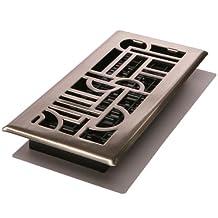 "Decor Grates ADH212-NKL Art Deco Floor Register, Brushed Nickel, 2"" x 12"""