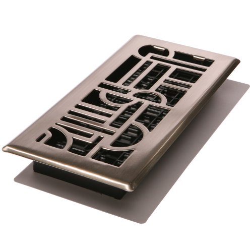 Decor Grates ADH410-NKL Art Deco Floor Register, Brushed Nickel, 4-Inch by 10-Inch (Decor Grates)
