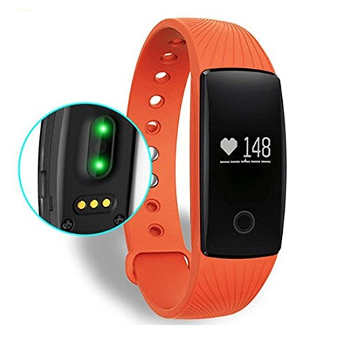 Photo - Fitness Watch,FIT-FIRE Fitness Tracker With Heart Rate Monitor Pedometer Activity Smart Wristband (Orange)