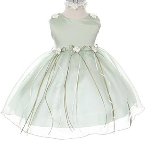 Rosebud Flower Bow Ribbons Baby Little Girl Flower Girls Dresses (19KD3) Sage M