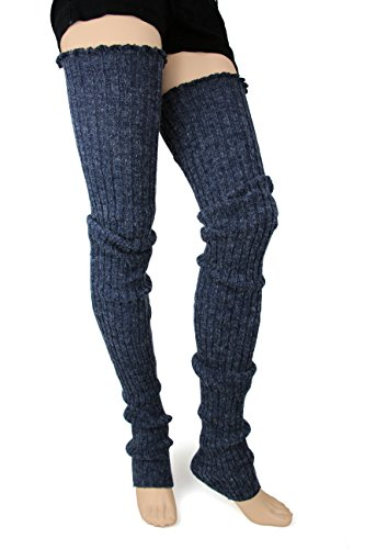 Foot Traffic Cable Knit Legwarmers (Super Long, Denim) (Chicken Warmers Leg)