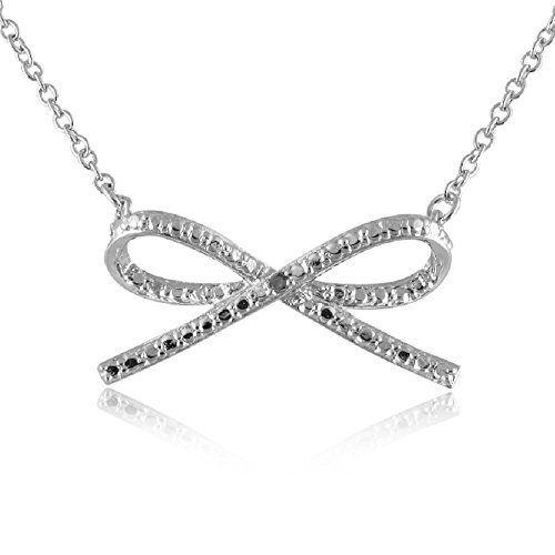 Diamond Bow Necklace (Sterling Silver Rhodium Plated Diamond Accent Bow Tie Pendant Necklace, 18