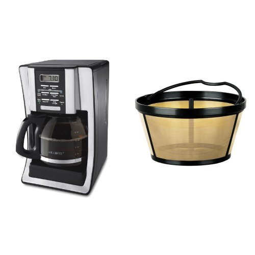 Mr. Coffee BVMC-SJX33GT 12-Cup Programmable Coffeemaker and Mr. Coffee GTF2-1 Basket-Style Gold Tone Permanent Filter Bundle