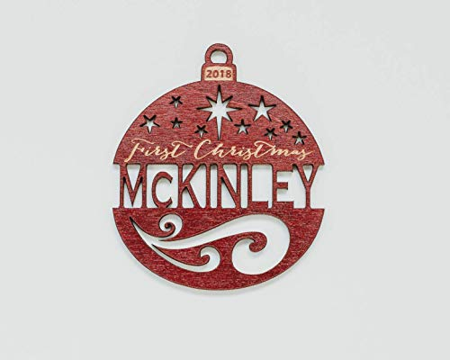 Personalized Name Ornament (Personalized First Christmas Ornament (any year) from Solid Wood)