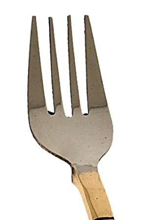 Rastogi artesanías moderno tenedor cubertería de acero inoxidable y cobre para comida india hogar cocina Bar, juego de 8: Amazon.es: Hogar