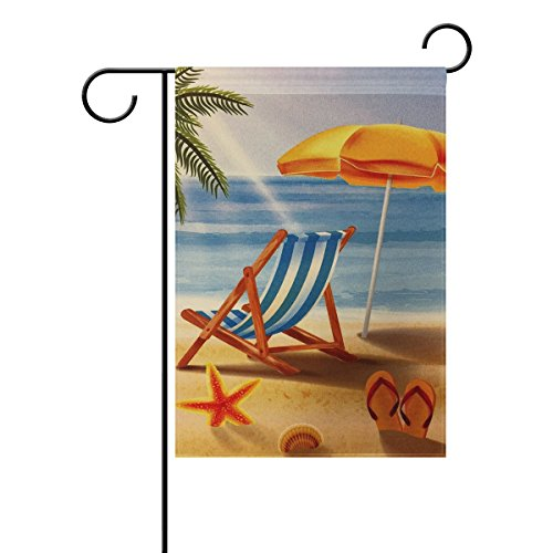 ALAZA Double Sides Summer Garden Flag, Tropical Beach Sunset