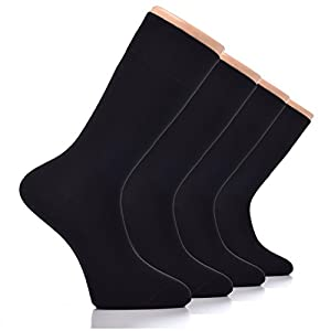 HUGH UGOLI Men's Dress Crew Socks Seamless COTTON Casual Business 4 Pairs (Black)