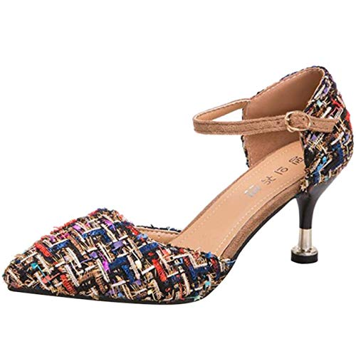 Cinturino A Grigio Punta Da Uk Dimensione Sandali Caviglia Donna colore Spillo 5 Alla Fibbia Nero Con Eeayyygch qw0ctaTZ