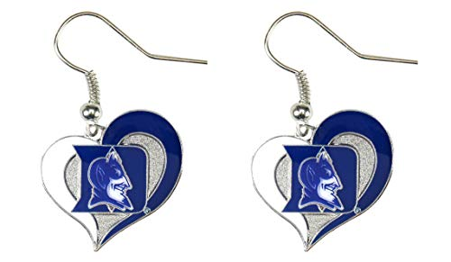 Fan Duke - NCAA Duke Blue Devils Swirl Heart Earrings