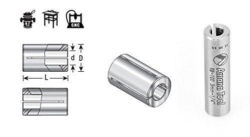 Amana Tool RB-102 High Precision Steel Router Collet Reducer 1/4 Overall D x 1/8 Inner D x 1 Inch Long