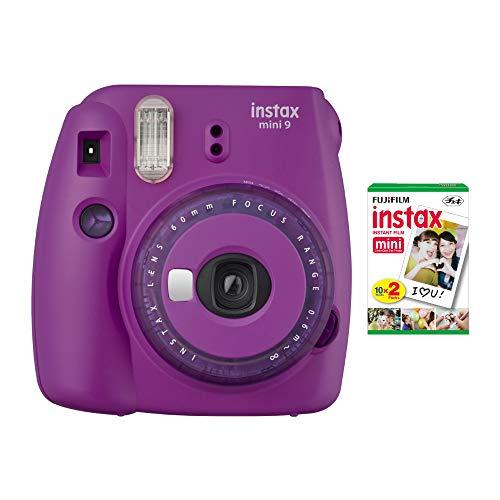 Fujifilm Instax Mini 9 Instant Camera with Mini Film Twin Pack (Purple) (Purple Camera)