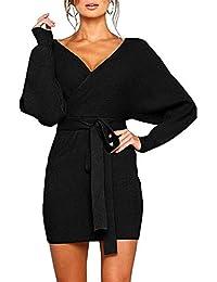 Women's Sexy Cocktail Batwing Long Sleeve Backless Mock Wrap Knit Sweater Mini Dress