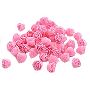 Ewandastore 100 Pcs 1.2 Inch Fake Rose Heads Real Looking Artificial Roses Flowers Heads for Wedding Bouquets Centerpieces Party Baby Shower Home DIY Decorations(Pink) 3