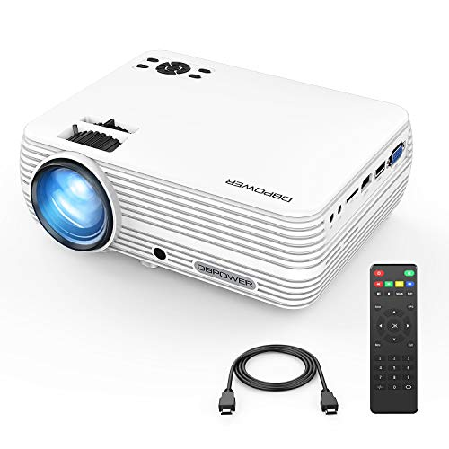 Mini Projector, DBPOWER Portable Projector 2400 Lumens 50,000 Hours LED Full HD 1080P Support Video Projector, Compatible with iPhone, ipad,AV, USB, SD, Amazon Fire TV Stick