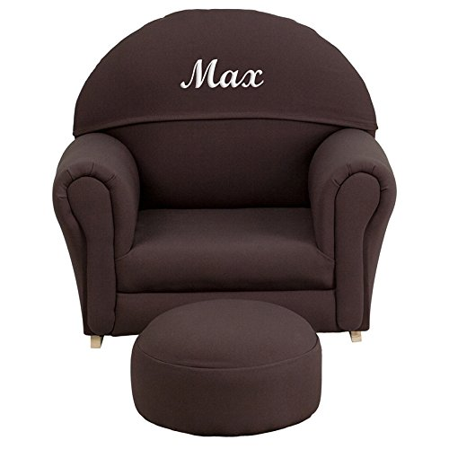 Flash Furniture Personalized Kids Fabric Rocker Chair and Footrest, Brown