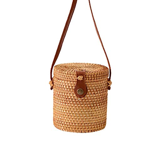 - Rattan Handwoven Crossbody Bucket Bag, Tote Wicker Woven Straw Shoulder Handbag, Leather Straps Women Chic Handmade Purse for Beach Cellphone Carrying for Girlfriend Crafted with Hand-knitted Fabrics