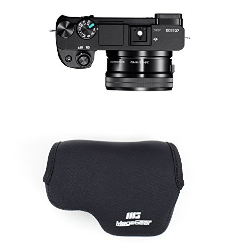 MegaGear MG063 Ultra Light Neoprene Camera Case compatible with Sony Alpha A6500, A6300, A6000 (16-50 mm) - Black