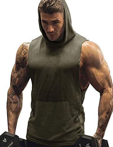 - URRU Men's Gym Mesh Hooded Tank Top Workout Bodybuilding Sleeveless Muscle Hoodies Army Green M