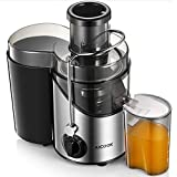 AICOOK Juicer, Juice Extractor with with Non-Slip Feet with with 3'' Wide Mouth, 3 Speed Centrifugal Fruits and Vegs, BPA-Free