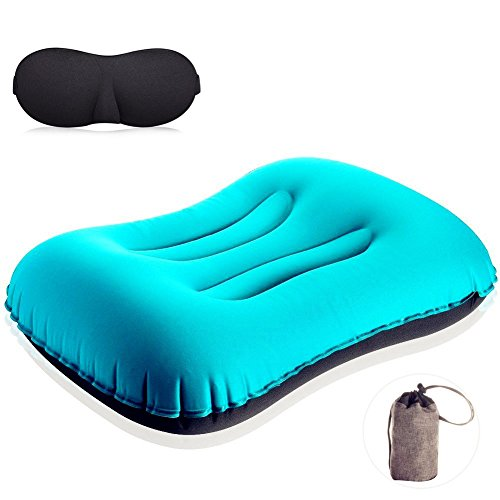 Backpack Pillow Inflatable Ultralight Portable Camping Pillow Pillow for Hiking Picnic Travel Car Neck Protective Pilliow with Black Sleeping Mask as Gift
