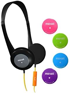 a2736aff61e Maxell 195004 Durable Wired Sweat and Moisture Resistant Action Kids  Headphones with Interchangable Colors and Mic