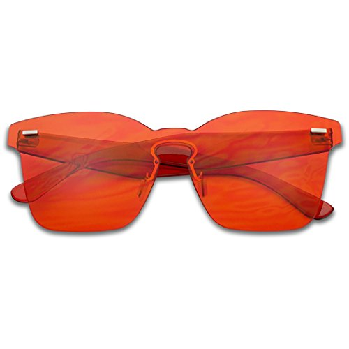 SunglassUP - Colorful Bright Mono Block Frameless Bold Aesthetic Wayfarer One Piece PC Sunglasses (Red, - Nerd Glassses