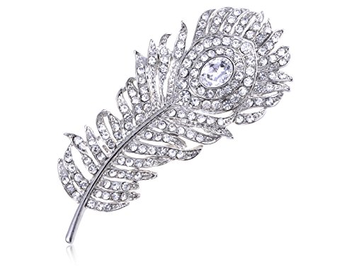 [Alilang Silver Tone Clear Crystal Colored Rhinestones Peacock Feather Brooch Pin] (Bird Costumes Women)