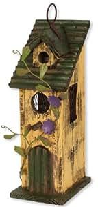 Carson acentos para el hogar flores Birdhouse, 11pulgadas, Amarillo/Morado