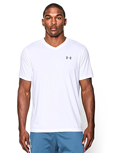 Under Armour Men's Tech V-Neck T-Shirt, White/Steel, Large