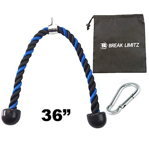 Break Limitz Blue Tricep Rope Pull Down | 36 Inch Heavy Duty Nylon Rope, Chrome Cable Attachment with Solid Non Slip Ends | for Professional and Home Gyms | Includes Snap Hook & Carry Bag (36)