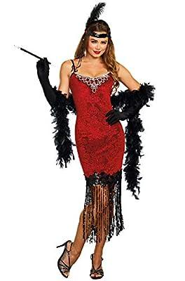 Dreamgirl Women's 1920's Ruby Red Beaded Velvet Flapper