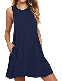 Women's Casual Swing T-Shirt Dresses with Pockets