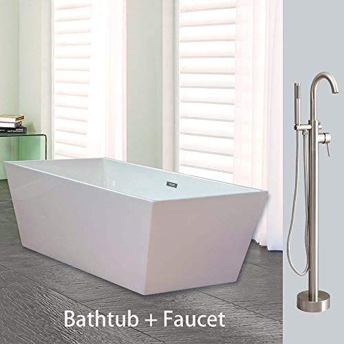 Woodbridge BTA1512 B0003 67 Acrylic Freestanding Bathtub Contemporary Soaking Tub Overflow and Drain BTA1512-B,with Brushed Nickel Faucet F0001, B-0003 F-0001