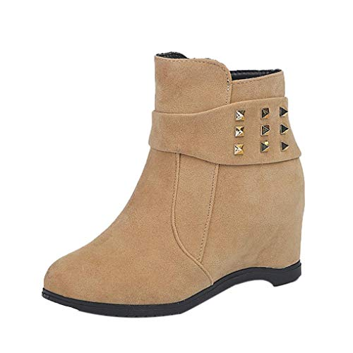 HLHN Women Ankle Boots Leather Height Increasing Wedge Heel Martin Shoes Platform Vintage Casual Classic Winter Khaki