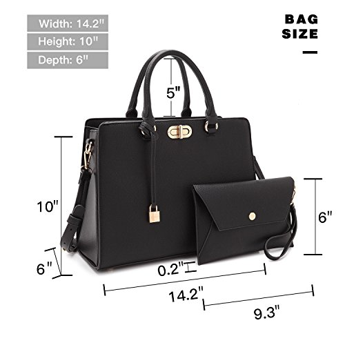 Bag Women's 0023 Designer Leather Handbag Satchel Padlock Coin Black Top Handle Tote w Dasein Shoulder Purse 0dqw56nq