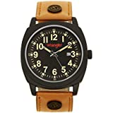 Wrangler Men's Watch, 44mm Black Case, Black Face, Tan Polyurethane Band, Second Hand (WRT2703-1A5)