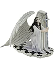 Resin Statues The Blessing by Anne Stokes Kneeling Gothic Angel in White Holding Sword Statue 8 X 6.5 X 7 inches White