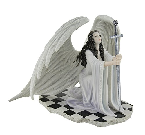 Veronese Resin Statues The Blessing By Anne Stokes Kneeling Gothic Angel In White Holding Sword Statue 8 X 6.5 X 7 Inches (Blessing Angel Statue)