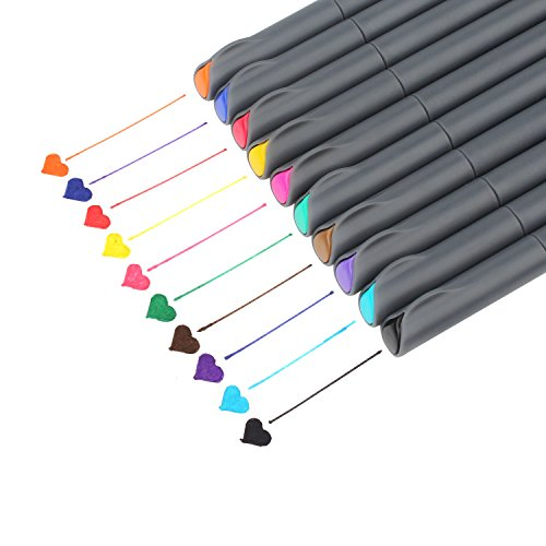 Fineliner Color Pen Set, Taotree 0.38mm Colored Sketch Drawing Pen, Porous Fine Point Markers for Bullet Journaling and Note Taking, 10 Assorted Colors by Taotree (Image #7)