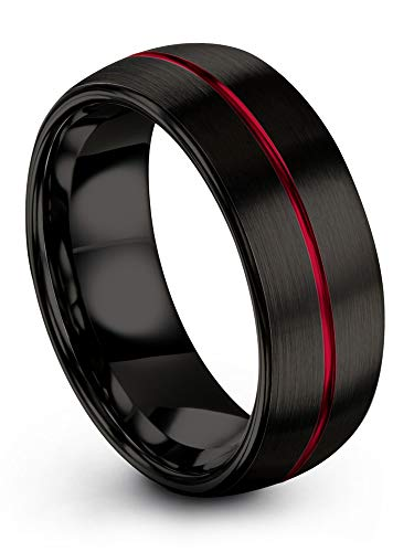 (Chroma Color Collection Tungsten Carbide Wedding Band Ring 8mm for Men Women Red Center Line and Black Interior with Dome Brushed Polished Comfort Fit Anniversary Size 7.5)