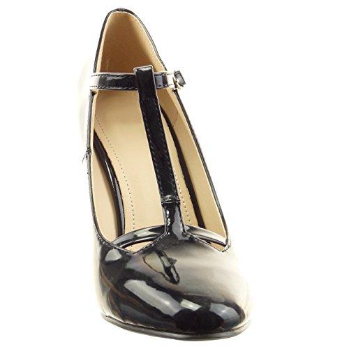 Sopily - Zapatillas de Moda Tacón escarpín correa Tobillo mujer brillantes patentes Talón Tacón ancho alto 9.5 CM - Negro